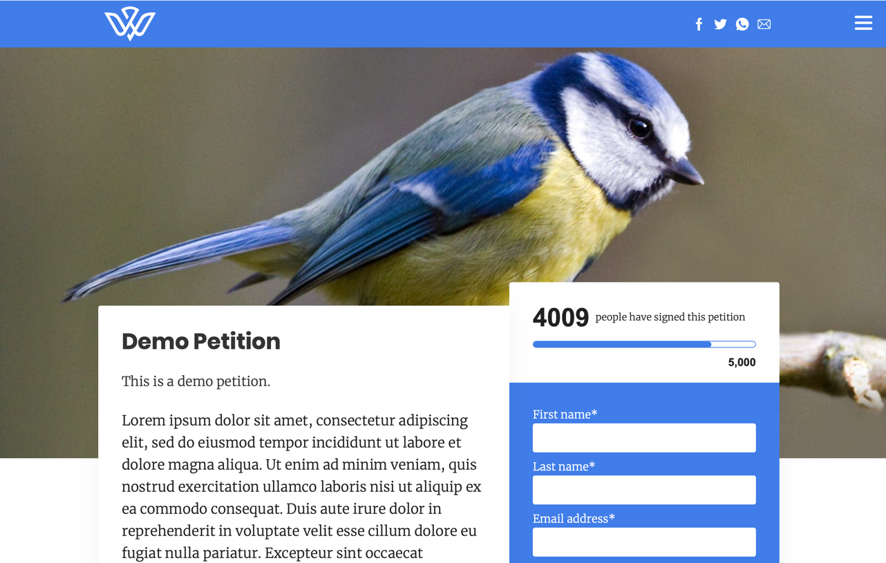 A demo petition at [demo.wings.dev/petitions/demo-petition](https://demo.wings.dev/petitions/demo-petition)
